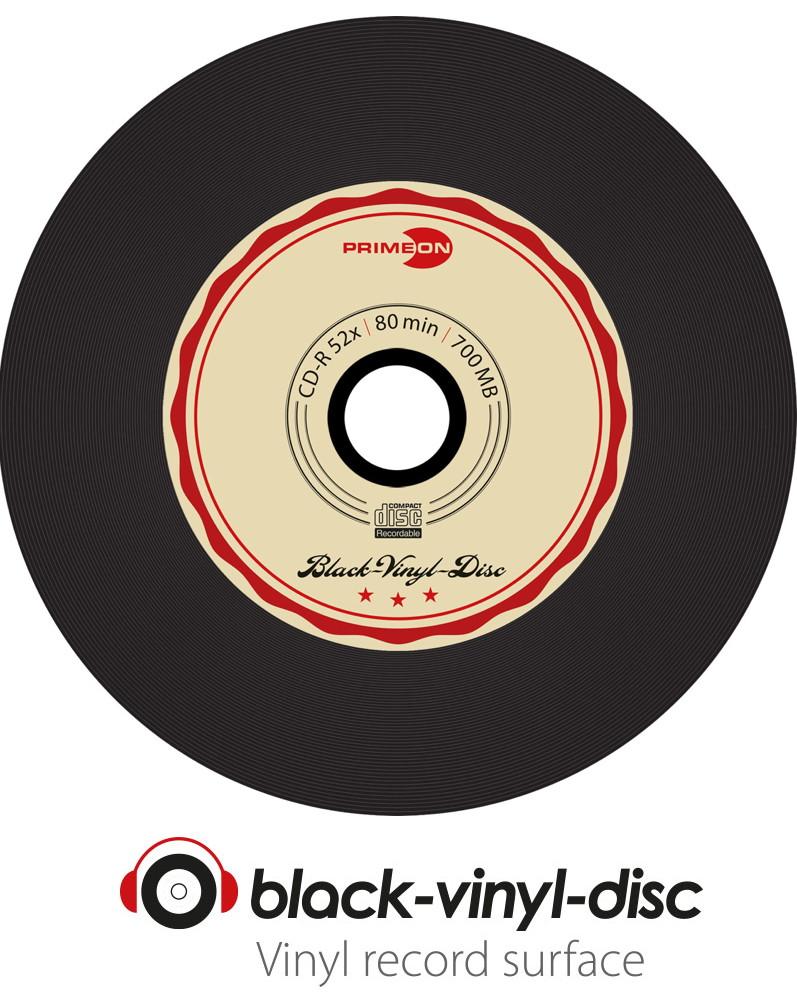 50 primeon rohlinge cd r vinyl black dye 80min 700mb 52x spindel. Black Bedroom Furniture Sets. Home Design Ideas
