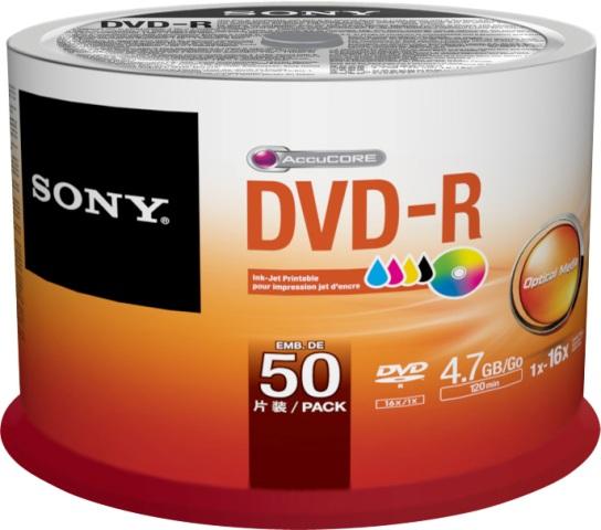 50 Sony Rohlinge DVD-R full printable 4,7GB 16x Spindel