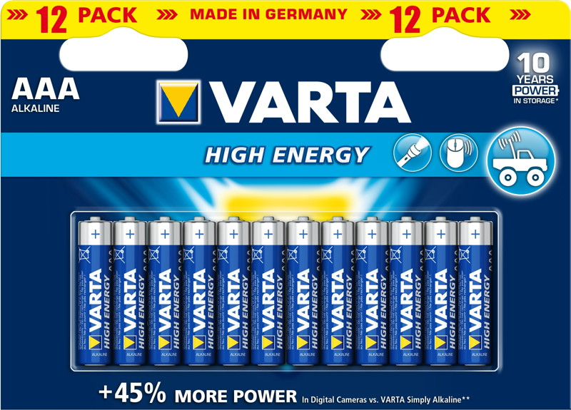 12 varta 4903 high energy aaa micro alkaline batterien im 12er blister. Black Bedroom Furniture Sets. Home Design Ideas