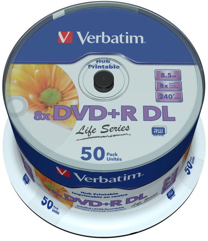 50 Verbatim Rohlinge DVD+R Double Layer full printable Life Series 8,5GB 8x Spindel