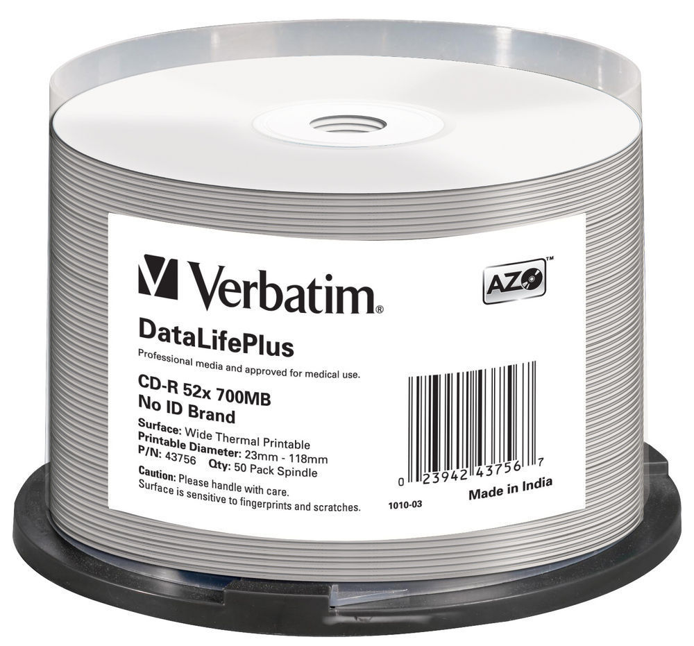 50 Verbatim Professional Rohlinge CD-R full printable Thermo 80Min 700MB 52x Spindel