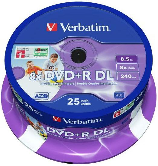 25 Verbatim Rohlinge DVD+R Double Layer full printable 8,5GB 8x Spindel