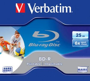 1 Verbatim Blu-ray BD-R full printable 25GB 1-6x Jewelcase