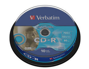 10 Verbatim CD-R lightscribe 80Min 700MB 52x Spindel