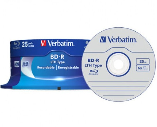 25 Verbatim Blu-ray BD-R LTH 25GB 6x Spindel