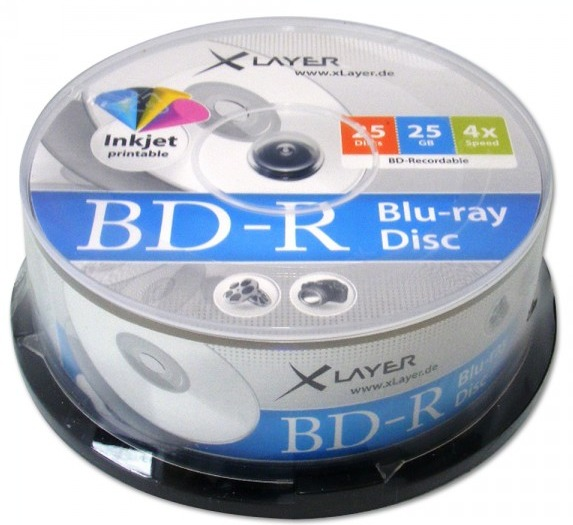 100 XLayer Bluray BD-R full printable 25GB 4x Spindel