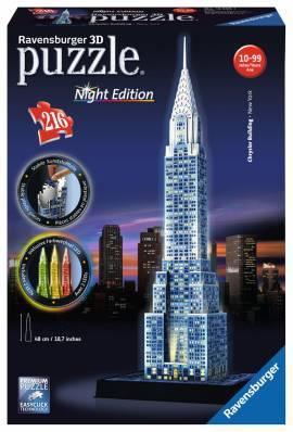 216 Teile Ravensburger 3D Puzzle Bauwerk Chrysler Building bei Nacht 12595 - Bild vergrößern