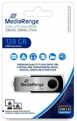Mediarange USB Stick 128GB Speicherstick Swivel Swing silber - Bild vergrößern