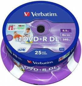 25 Verbatim Rohlinge DVD+R Double Layer full printable 8,5GB 8x Spindel - Bild vergrößern