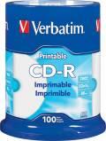 100 Verbatim Rohlinge CD-R full printable 80Min 700MB 52x Spindel