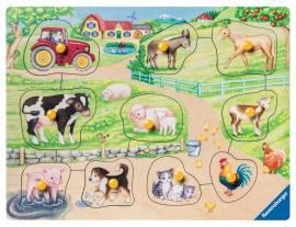 10 Teile Ravensburger Kinder Holz Puzzle my first wooden Morgens auf dem Bauernhof 03689 - Bild vergrößern