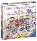 12 Teile Ravensburger Kinder Puzzle my first puzzles outdoor Die Feuerwehr saust herbei 05613