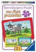 3 x 6 Teile Ravensburger Kinder Rahmen Puzzle my first puzzles Esel, Schaf und Ziege 06134