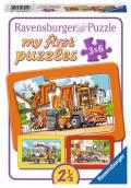 3 x 6 Teile Ravensburger Kinder Rahmen my first puzzles Müllabfuhr Krankenwagen Abschleppwagen 06944