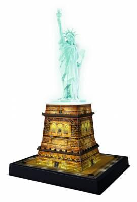 108 Teile Ravensburger 3D Puzzle Bauwerk Freiheitsstatue bei Nacht 12596 - Bild vergrößern