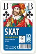 32 Blatt Ravensburger FX Schmid Spielkarten Skat Französisches Bild große Eckzeichen Etui 27005