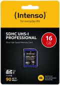 Intenso SDHC Karte 16GB Speicherkarte UHS-I professional 90 MB/s Class 10