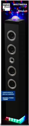 Bigben Bluetooth Lautsprecher System Sound Tower TW10 schwarz Discokugel AU347357