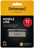 Intenso USB Stick 32GB Speicherstick OTG Mobile Line silber mit Micro USB Anschluss