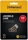 Intenso USB Stick 64GB Speicherstick cMobile Line silber Typ C USB 3.1 mit USB 3.0