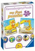 9 x 2 Teile Ravensburger Kinder Puzzle my first puzzles Tierische Baustelle 03074