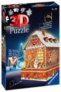 216 Teile Ravensburger 3D Puzzle Bauwerk Lebkuchenhaus bei Nacht 11237