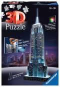 216 Teile Ravensburger 3D Puzzle Bauwerk Empire State Building bei Nacht 12566