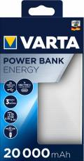 Varta Powerbank mobile Ladestation Energy 20000 mAh Typ A / Typ C USB OUT weiß