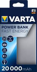 Varta Powerbank mobile Ladestation Fast Energy 20000 mAh Typ A / Typ C USB OUT silber