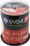 100 HP Rohlinge DVD-R full printable 120Min 4,7GB 16x Spindel