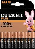 20 Duracell Plus AAA / Micro Alkaline 100% Extra Life Batterien im 20er Blister