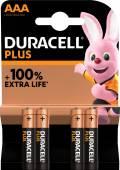 4 Duracell Plus AAA / Micro Alkaline 100% Extra Life Batterien im 4er Blister