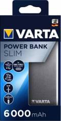 Varta Powerbank mobile Ladestation Slim 6000 mAh Ladegerät USB OUT silber
