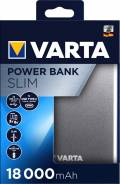 Varta Powerbank mobile Ladestation Slim 18000 mAh Ladegerät USB OUT silber