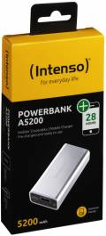 Intenso Powerbank mobile Ladestation Alu 5200 mAh Ladegerät USB OUT silber