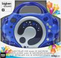 Bigben tragbarer CD Player CD47 Kids blau für Kinder 2 Mikrofone Karaoke AU314816