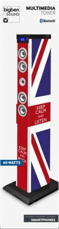 Bigben Bluetooth Lautsprecher System Sound Tower TW9 Union Jack Keep calm AU343403