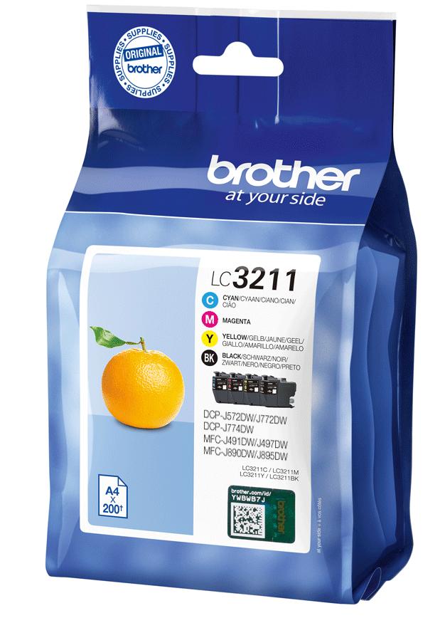 4 Brother Druckerpatronen Tinte LC-3211 BK / C / M / Y Multipack