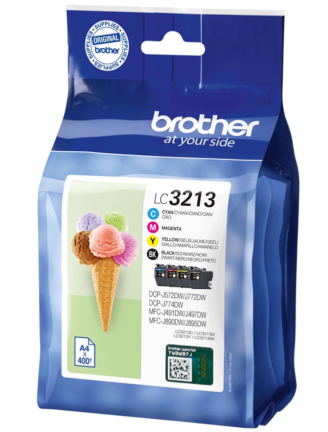 4 Brother Druckerpatronen Tinte LC-3213 BK / C / M / Y Multipack
