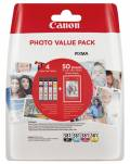 4 Canon Druckerpatronen Tinte CLI-581 BK / C / M / Y Multipack Fotopapier