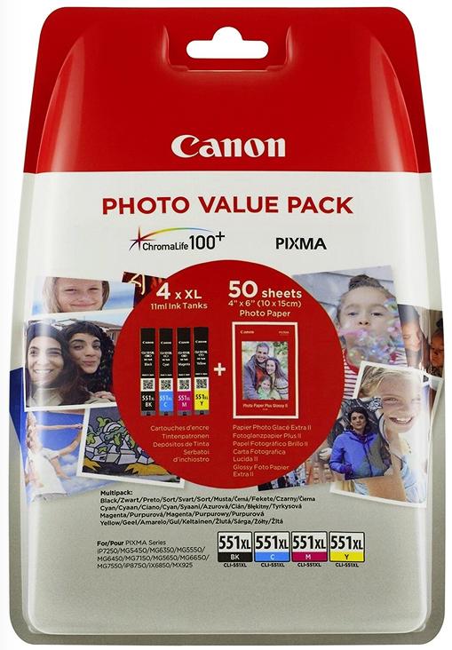 4 Canon Druckerpatronen Tinte CLI-551 XL BK / C / M / Y Multipack inkl. Fotopapier