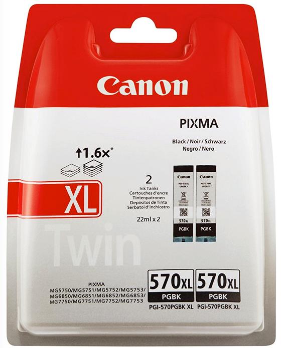 2 Canon Druckerpatronen Tinte PGI-570 XL PGBK black, schwarz Doppelpack