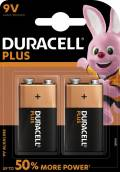 2 Duracell Plus Power 9V Block / MN1604 Alkaline Batterien im 2er Blister