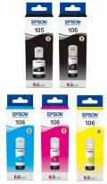 5 Epson Tintenbehälter Tinte 105 BK / 106 C / M / Y / PBK Multipack