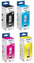 4 Epson Tintenbehälter Tinte 104 BK / C / M / Y Multipack
