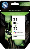 2 HP Druckerpatronen Tinte Nr. 21 BK / Nr. 22 tri-color Multipack
