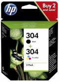 2 HP Druckerpatronen Tinte Nr. 304 BK / tri-color Multipack