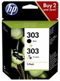 2 HP Druckerpatronen Tinte Nr. 303 BK / tri-color Multipack