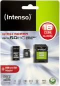 Intenso Micro SDHC Karte 16GB Speicherkarte Class 10 inkl. USB Adapter