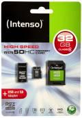Intenso Micro SDHC Karte 32GB Speicherkarte Class 10 inkl. USB Adapter